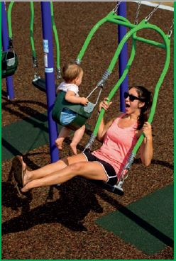 baby and mom swinging